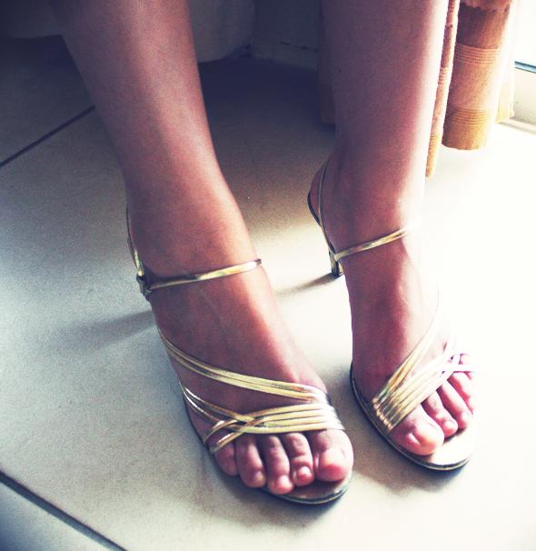 sandales dorees vintage