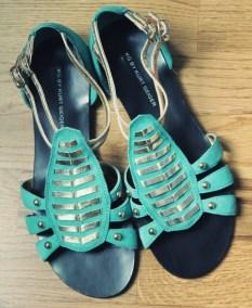 kurt geiger chaussures turquoises dorees