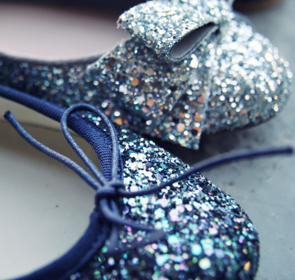 ballerines paillettes bleu argent