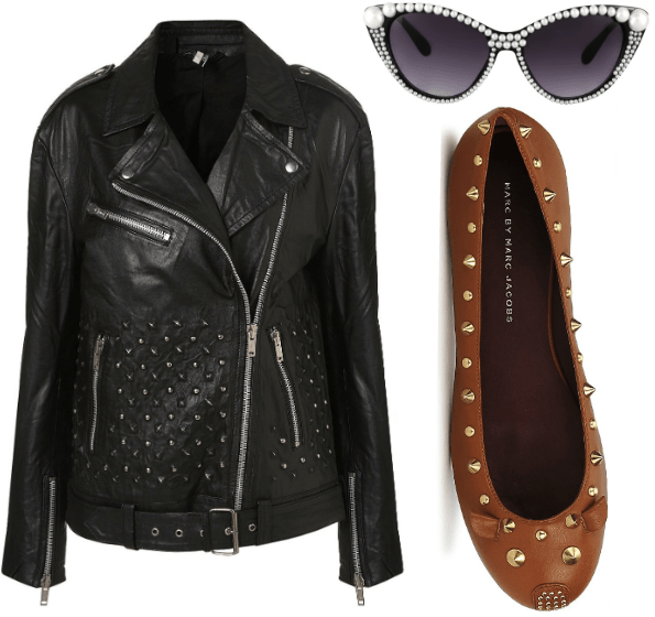 Topshop leather perfecto veste cuir marc by marc jacobs souris mouse flats ballerines lunettes pin up asos sunglasses pearls perles
