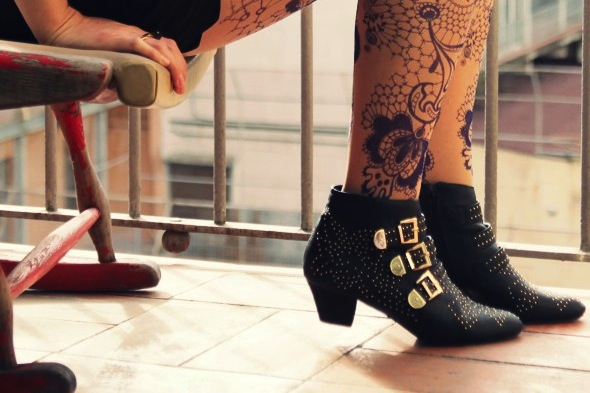 boots bottines jeffrey campbell black noir starburst studs chloe-like susanna shoes