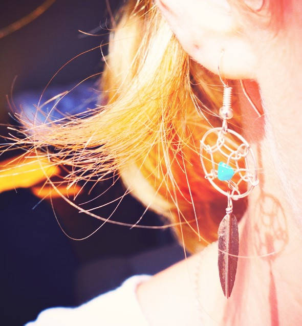 boucles d'oreilles earrings turquoise feather harpo_effected