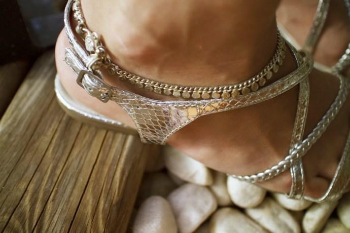 bracelet de cheville argent