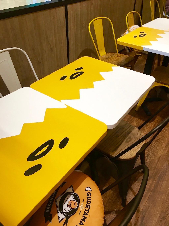 Gudetama cafe tables