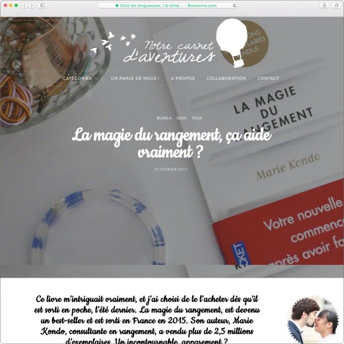 blog lifestyle marie kondo magie du rangement carnets d'aventures