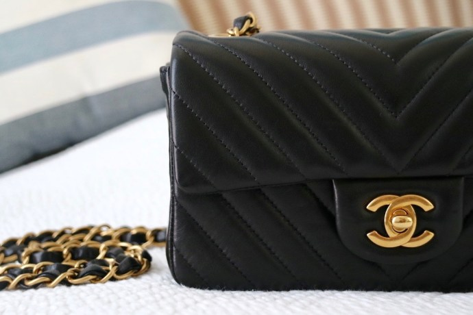 Close up Chanel Mini Timeless flap bag