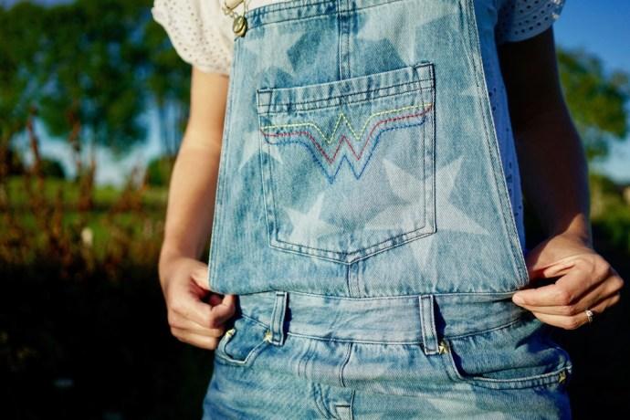 devant salopette jean