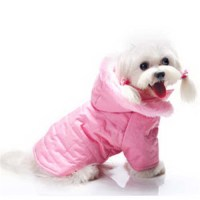 Pink Girl Dog Coat with Hood. Designer