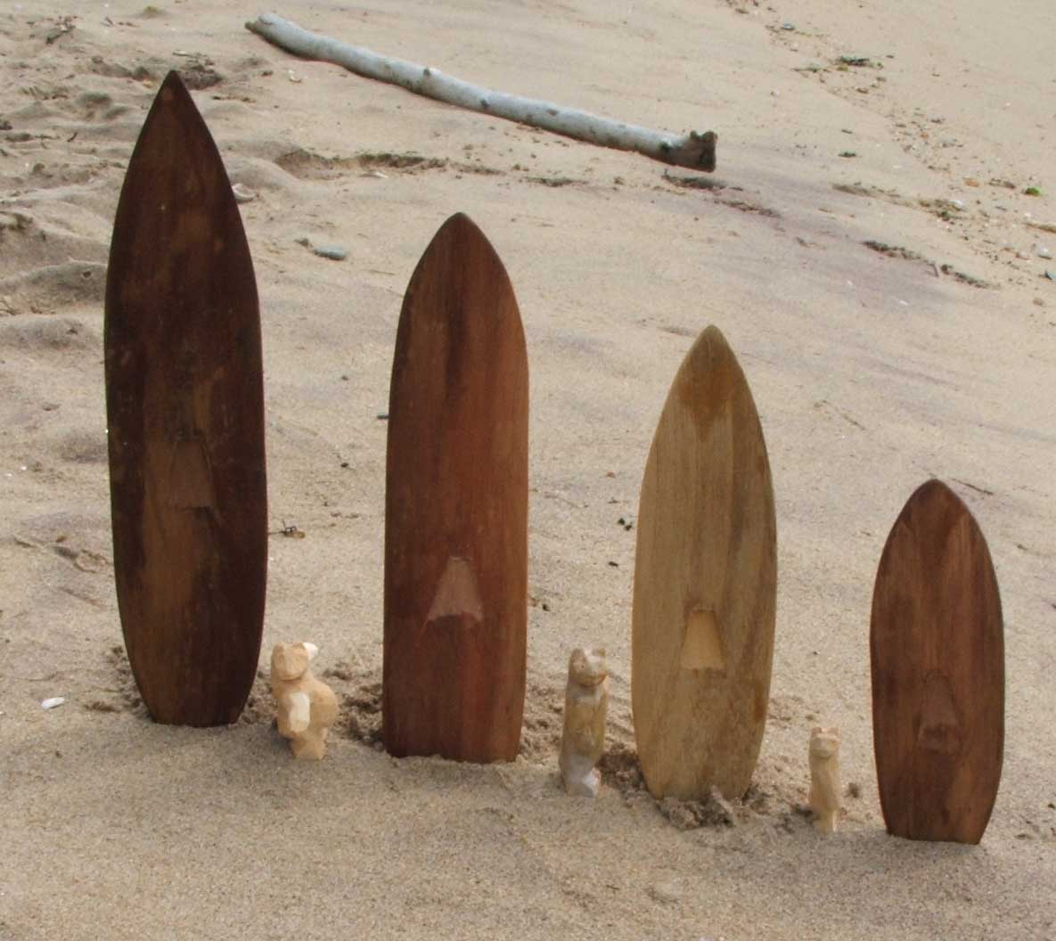 The four boards and three surfers we tested