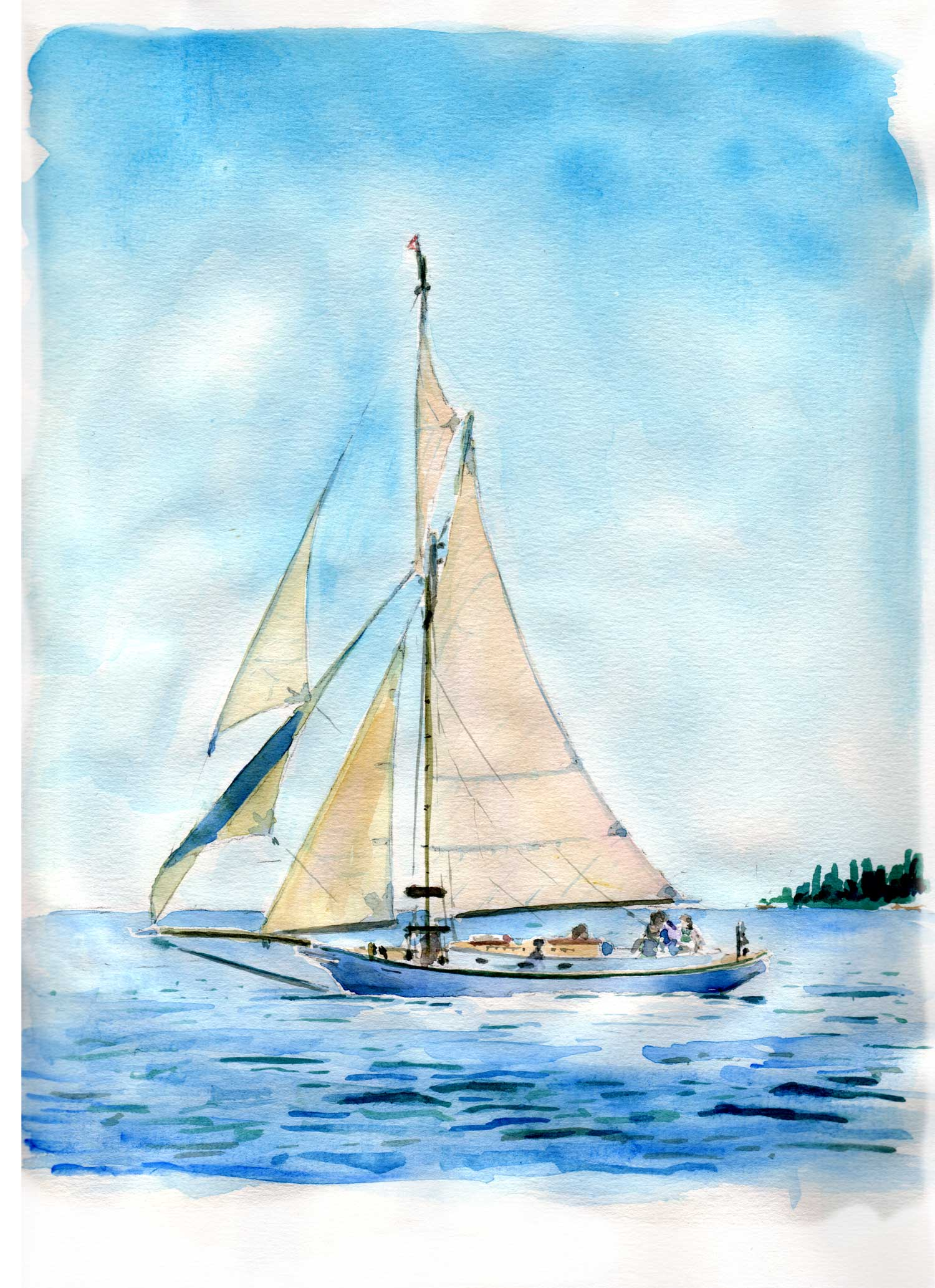 one of my watercolors of our boat with all sails set