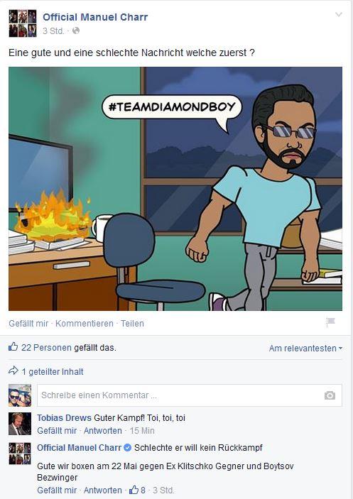 Snippet Facebook Post Manuel Charr