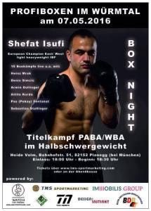 WBA-Titelkampf am 7. Mai in Planegg