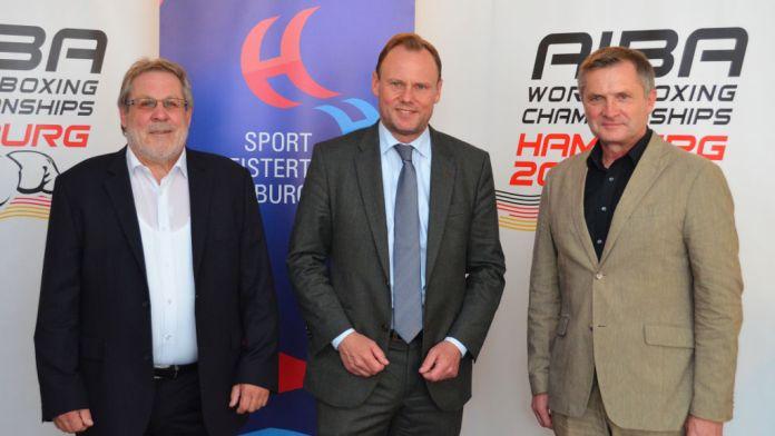 von links nach rechts: Präsident des LOC Jürgen Kyas, Sportsenator Andy Grote und CEO Michael Müller, Foto: DBV