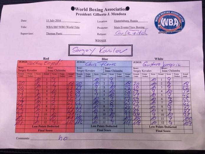 Scorecard Kovalev vs. Chilemba