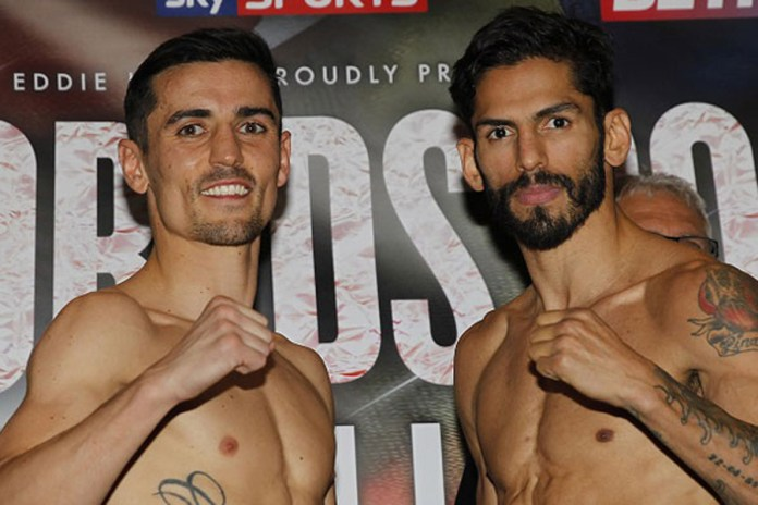 TWO WORLDS COLLIDE WEIGH IN RADISSON HOTEL,MANCHESTER PIC;LAWRENCE LUSTIG WBA,WBC AND RING MAGAZINE LIGHTWEIGHT TITLES WBA CHAMP ANTHONY CROLLA AND WBC CHAMP JORGE LINARES WEIGH IN BEFORE THEY CLASH IN THEIR UNIFICATION BOUT AT THE MANCHESTER ARENA ON SATURDAY 24TH SEPTEMBER