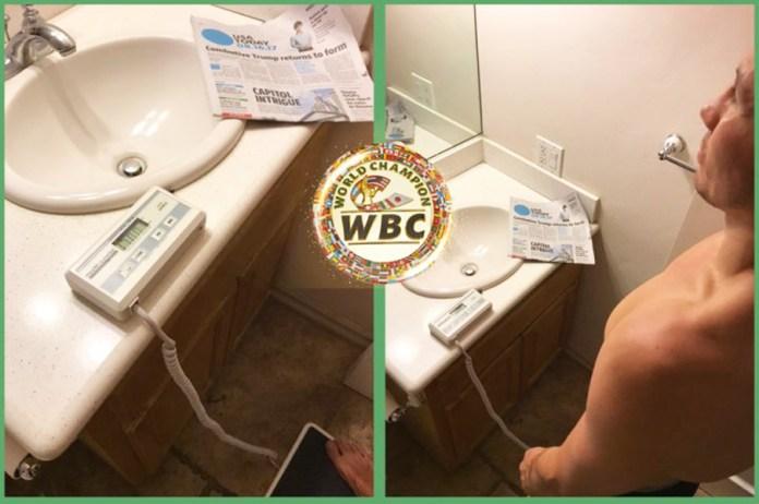 Erstes Wiegen nach dem Teglement der WBC 30 Tage vor dem Kampf: Golovkin bring 77,1 Klio auf die Waage.