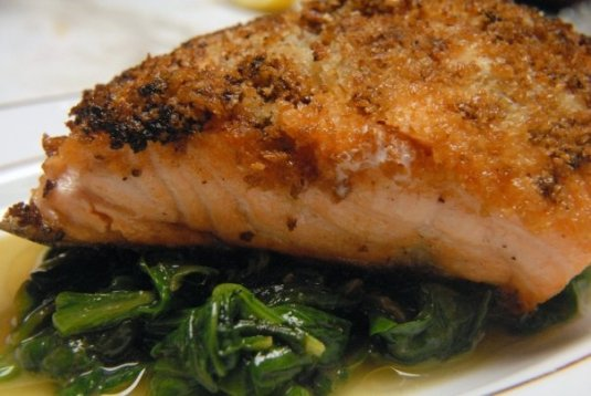 Dijon crusted salmon is another crowd pleasing dish.