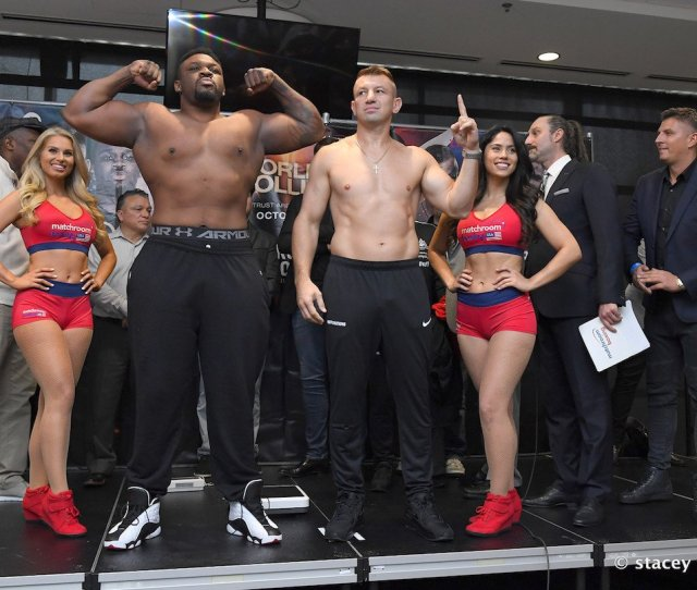 Jarrell Miller Tomasz Adamek Weigh In Results A Whopping 317 Pounds For Miller 227 For Adamek