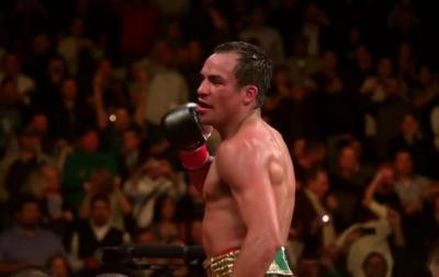 Marquez vs Alvarado - Juan Manuel Marquez celebrates victory over Mike Alvarado
