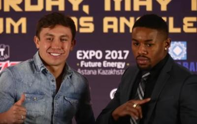 Golovkin vs Monroe Jr - Gennady Golovkin poses with Willie Monroe Jr