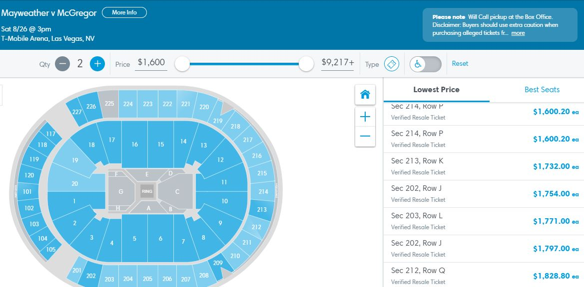 Mayweather McGregor Tickets Sales