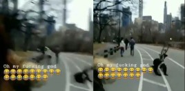 Boxer Takes Unfortunate Tumble Off Of Bicycle In New York