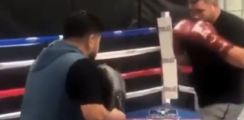 Andy Ruiz Nearly Knocks Out Trainer By Accident On The Pads