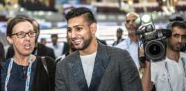 Amir Khan reacts to call out from son of boxing legend