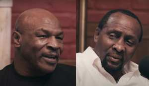 Tommy Hearns reacts to emotional Mike Tyson Sugar Ray Robinson meet
