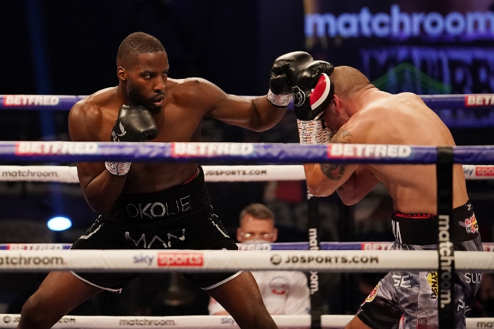 In what should have proved a stiff test, Lawrence Okolie won his world title without breaking a sweat   Matchroom: Joshua vs Usyk