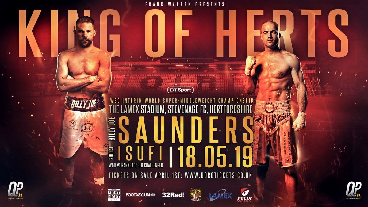 Saunders vs Isufi  - May 18  - BT Sport @ The Lamex Stadium | Stevenage | England | United Kingdom