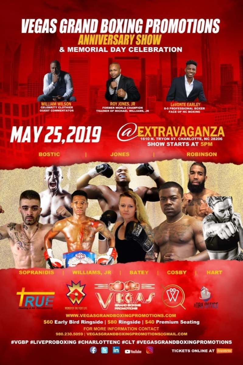Vegas Grand Productions FIGHT NIGHT LIVE PROFESSIONAL BOXING @ Extravaganza 1610 N. Tryon Street Charlotte, NC 28206 | Charlotte | North Carolina | United States