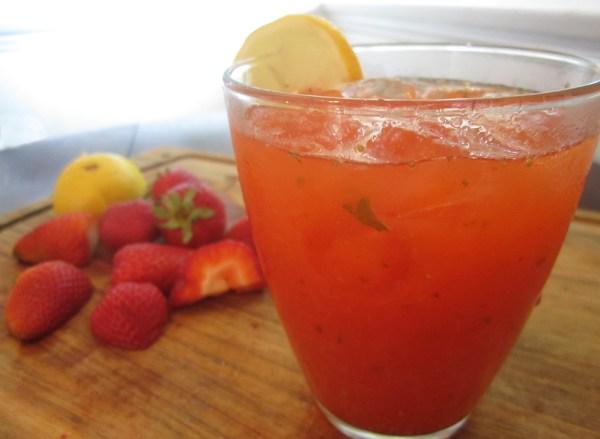 Homemade strawberry mint lemonade