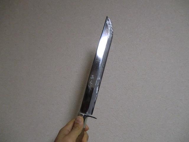 土佐狩猟剣鉈 270 両刃 白鋼 磨 樫柄 ステンツバ 黒レザー木鞘 晶之作