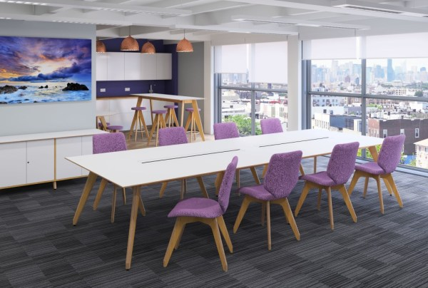 Sven Christiansen Ligni Meeting Table and Hi Table with Ligni seating and storage