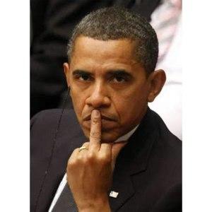 obama flips the bird