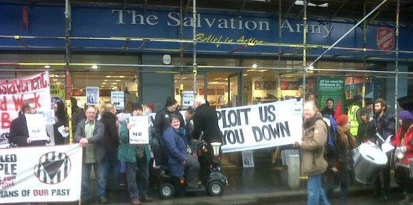 blockade of salvation army shop