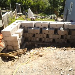 back side view - retaining wall install