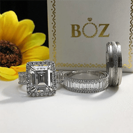 His and hers liz sterling silver-titanium trio set