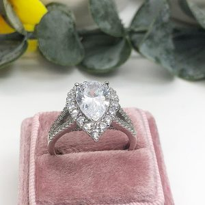 Aurora sterling silver 925 engagement ring
