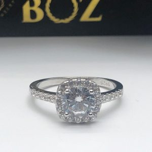Classic single halo cushion cut sterling silver 925 engagement ring