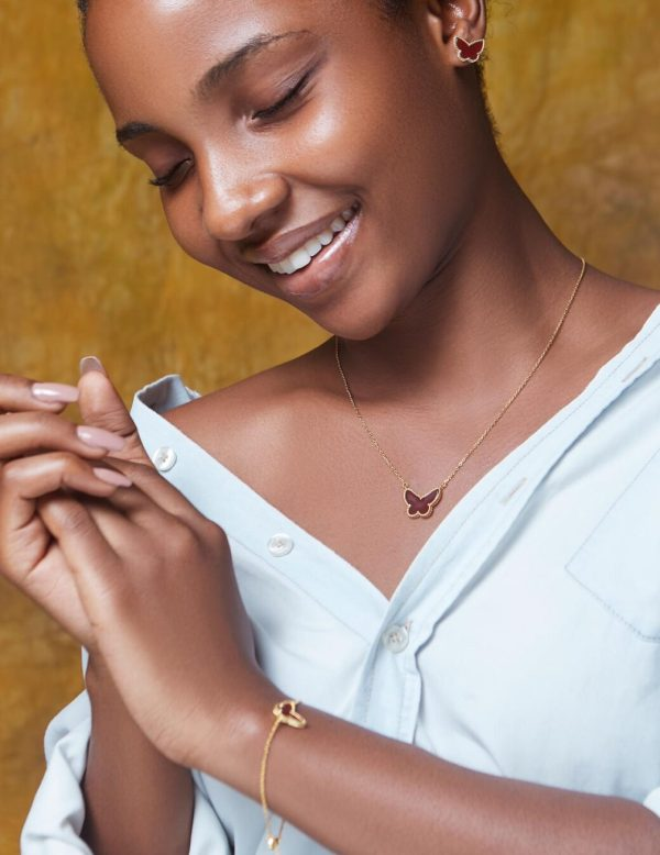 Brown Butterfly Gold Plated Sterling Silver Necklace, Earrings & Bracelet Set