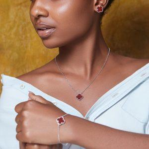 Wine Clover Pure Sterling Silver Necklace, Earrings & Bracelet Set