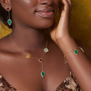 Stylish Multicolored Gold Plated Sterling Silver Necklace, Earrings & Bracelet Set