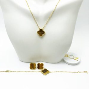 Brown Clover Gold Plated Sterling Silver Necklace, Earrings & Bracelet Set