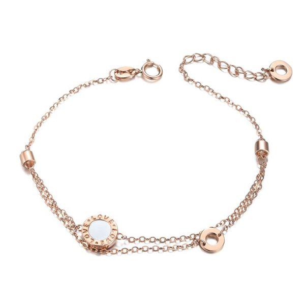 18karat gold agate-mother of pearl love bracelet