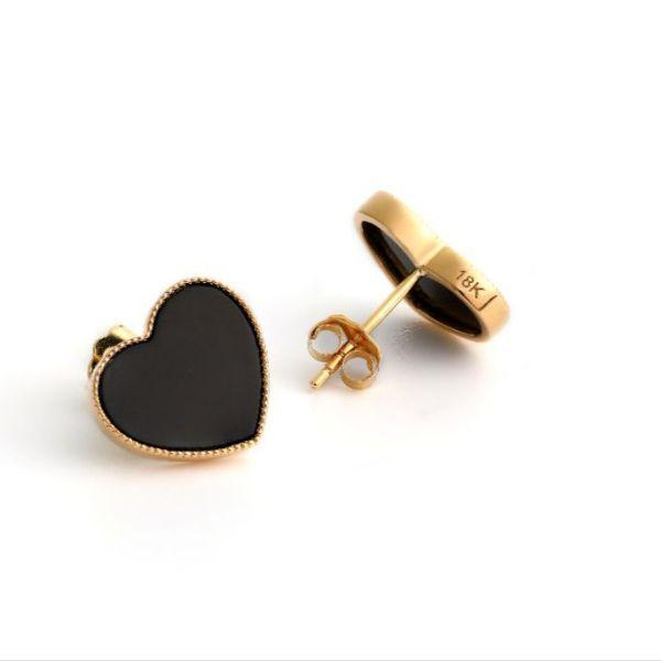 18karat gold black agate heart earrings