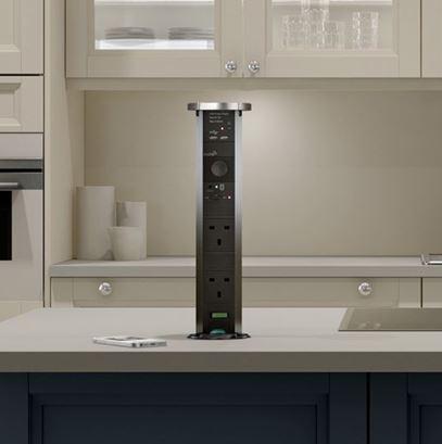 kitchen island outlet mid century modern design pop up sockets | bpf