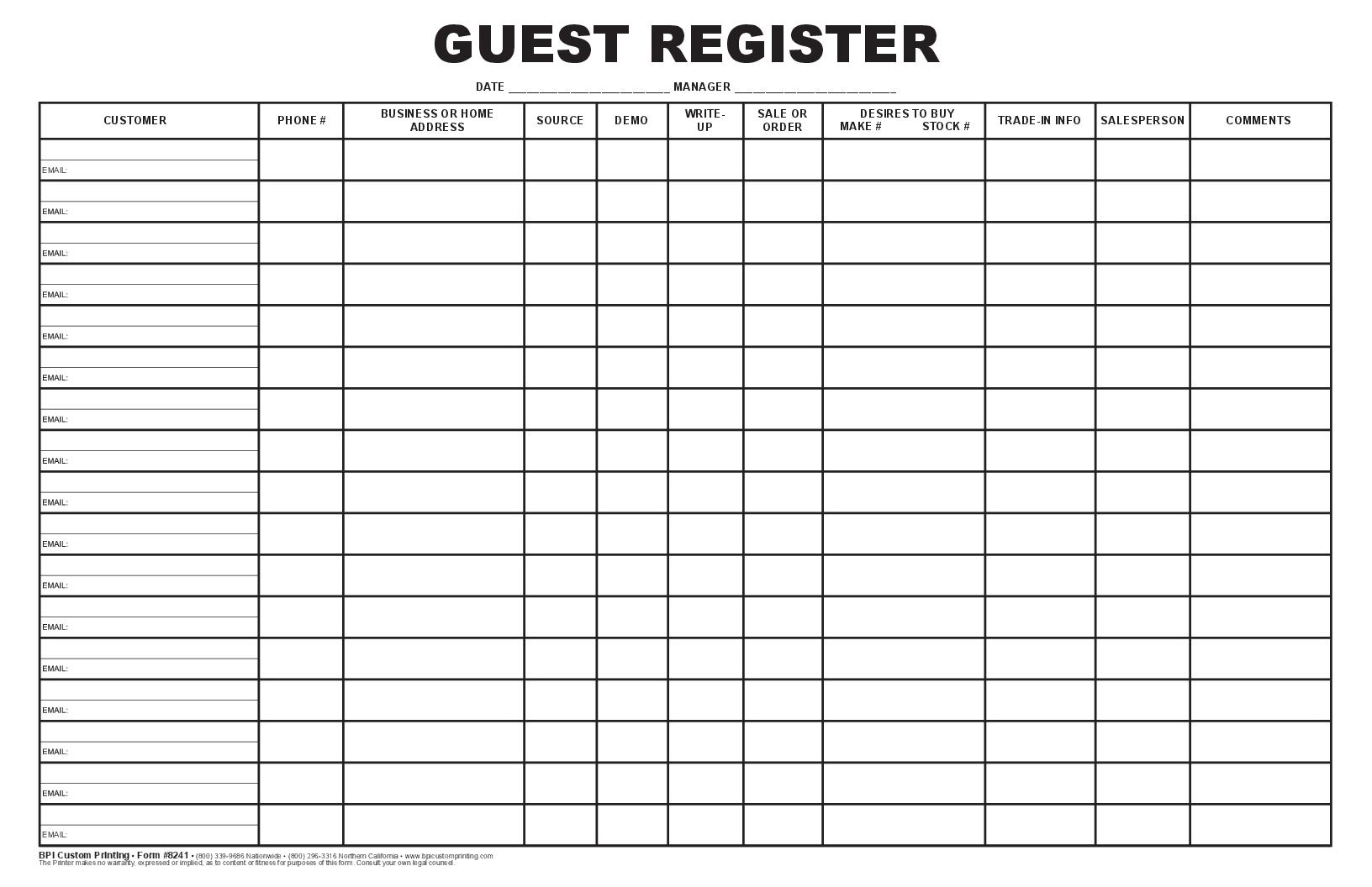 Guest register log bpi dealer supplies - Chp call log paint ...