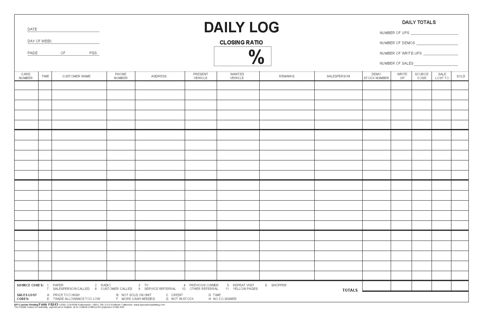 Closing Ratio Daily Log Bpi Dealer Supplies